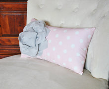 Load image into Gallery viewer, Decorative Lumbar Pillow Gray Dahlia on Light Pink and White Polka Dot Lumbar Pillow 9 x 16 - Daisy Manor