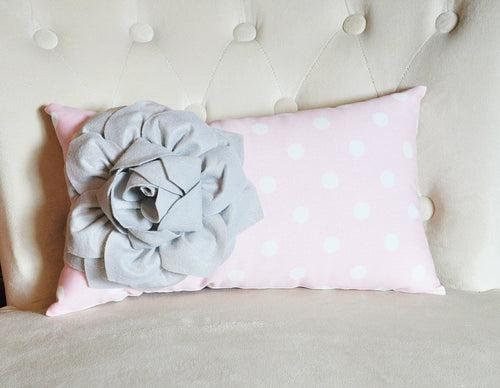 Decorative Lumbar Pillow Gray Dahlia on Light Pink and White Polka Dot Lumbar Pillow 9 x 16 - Daisy Manor