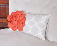 Load image into Gallery viewer, Lumbar Pillow Coral Dahlia on Neutral Gray Tarika Lumbar Pillow 9 x 16 - Daisy Manor