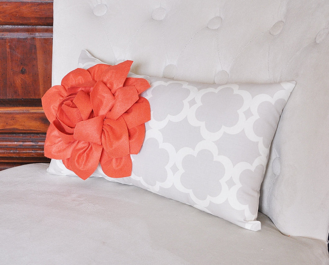 Lumbar Pillow Coral Dahlia on Neutral Gray Tarika Lumbar Pillow 9 x 16 - Daisy Manor