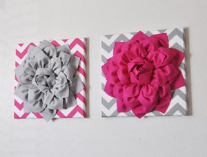 TWO Mix and Match Hot Pink and Gray Dahlia Chevron Canvas Set - Daisy Manor