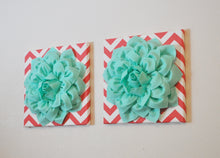 "Load image into Gallery viewer, Two Wall Flowers -Mint Dahlia Flowers on Coral and White Chevron 12 x12"" Canvas Wall Art- Baby Nursery Wall Decor- - Daisy Manor"