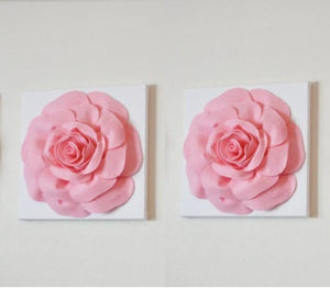 "Two Wall Hangings -Light Pink Roses on White 12 x12"" Canvases Wall Art- Baby Nursery Wall Decor- - Daisy Manor"