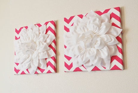 Two Wall Flowers -White Dahlia Flowers on Hot Pink and White Chevron Print 12 x12