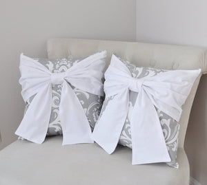 Throw Pillow White Bow on a Gray and White Damask Pillow 14x14 -White Pillow- - Daisy Manor