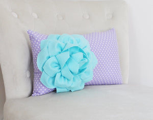 Polka Dot Lumbar Pillow Aqua Dahlia on Lavender and White Polka Dot Lumbar Pillow 9 x 16 - Daisy Manor