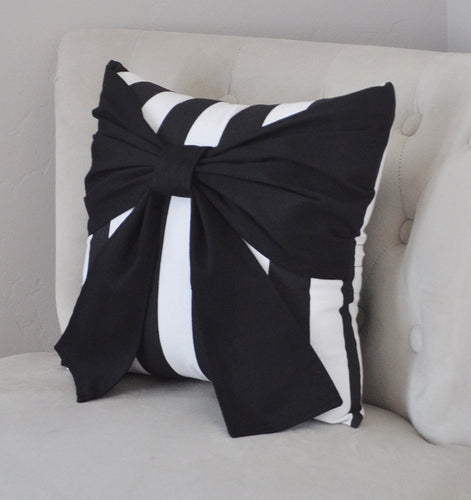 Black and White Stripe Bow Pillow - Daisy Manor