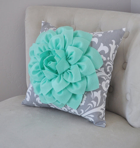 Mint Green Dahlia on Gray Damask Pillow - Decorative Pillow - Ozborne Pillow - - Daisy Manor