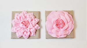 "Two Wall Flowers Light Pink Dahlia and Light Pink Rose on Burlap 12 x12"" Canvas Wall Art- Rustic Home Decor- - Daisy Manor"
