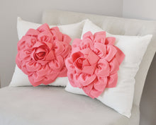 Load image into Gallery viewer, Light Coral Dahlia Felt Flower on Ivory Pillow - Pick your Colors - Pink Coral Flower Pillow - Daisy Manor