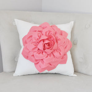 Light Coral Dahlia Felt Flower on Ivory Pillow - Pick your Colors - Pink Coral Flower Pillow - Daisy Manor