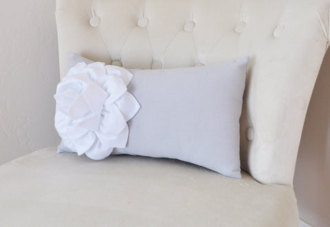 Gray Lumbar Pillow. White Dahila on Light Gray Lumbar Pillow 9 x 16 Oblong Pillow Recliner Pillow
