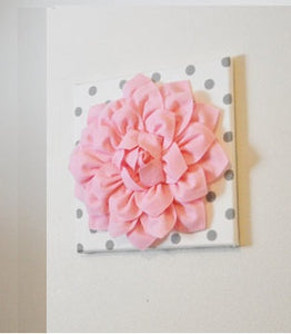 "Wall Flower -Light Pink Dahlia on White with Gray Polka Dot 12 x12"" Canvas Wall Art- Baby Nursery Wall Decor- - Daisy Manor"