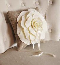 "Load image into Gallery viewer, Wall Flower -Light Pink Dahlia on Burlap 12 x12"" Canvas Wall Art- 3D Felt Flower - Daisy Manor"