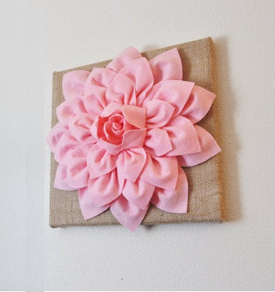 Wall Flower -Light Pink Dahlia on Burlap 12 x12