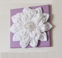 "Load image into Gallery viewer, Wall Art - White Dahlia on Lilac 12 x12"" Canvas Wall Art - Baby Nursery Wall Decor - - Daisy Manor"