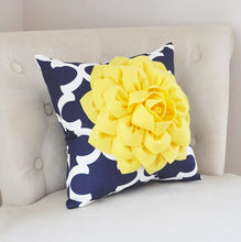 Load image into Gallery viewer, Pillows Decorative - Bright Yellow Dahlia on Navy and White Moroccan Pillow -  Throw Pillow - Decorative Pillows - Daisy Manor