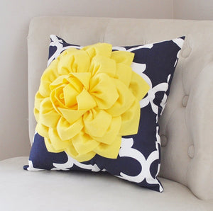 Pillows Decorative - Bright Yellow Dahlia on Navy and White Moroccan Pillow -  Throw Pillow - Decorative Pillows - Daisy Manor