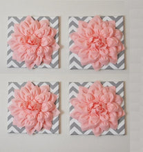"Load image into Gallery viewer, Wall Decor -Set Of Four Light Pink Dahlias on Gray and White Chevron 12 x12"" Canvases Wall Art- 3D Felt Flower - Daisy Manor"