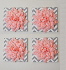 "Wall Decor -Set Of Four Light Pink Dahlias on Gray and White Chevron 12 x12"" Canvases Wall Art- 3D Felt Flower - Daisy Manor"