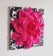 Load image into Gallery viewer, Hot Pink Dahlia on Black and White Zigzag Pillow -Chevron Pillow- - Daisy Manor