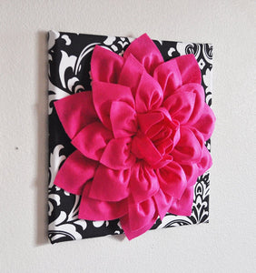 Hot Pink Dahlia on Black and White Zigzag Pillow -Chevron Pillow- - Daisy Manor