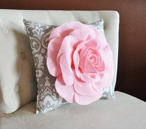 TWO Light Pink Roses on Gray and White Damask Canvases Wall Art - Daisy Manor