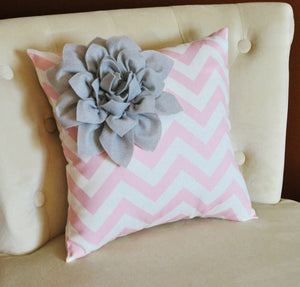 Three Gray and Light Pink Chevron Canvases - Daisy Manor