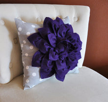 "Load image into Gallery viewer, Wall Art - Three Purple Dahlia on Gray and White Chevron 12 x12"" Canvas Home Decor - 3D Felt Flower - Daisy Manor"