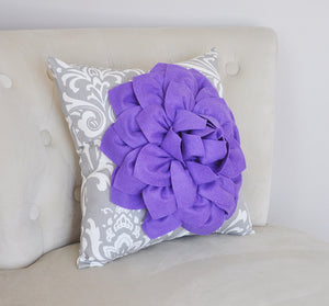 Pillows---Lavender Dahlia Flower, Gray Damask, Gift for Her, Unique Pillow - Daisy Manor