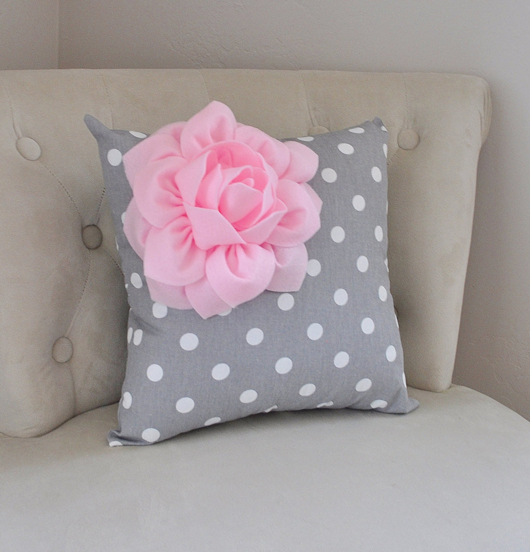 Decorative Light Pink Corner Dahlia on Gray  Polka Dot Pillow - Daisy Manor