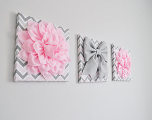 Set of Three Large Light Pink Dahlias and Gray Bow on Pink and Gray Chevron Canvases - Daisy Manor