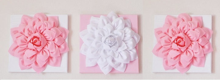 Three Wall Hangings Light Pink Dahlia on White and White Dahlia on Light Pink  12 x12