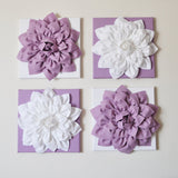 "MOTHERS DAY SALE Wall Art -Set of Three White Dahlia on Lilac 12 x12"" Canvas Wall Art - Home Decor - Nursery Decor"