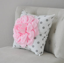 "Load image into Gallery viewer, Two Wall Flowers -Light Pink Dahlia on White with Grey Polka Dots 12 x12"" Canvas Wall Art- Baby Nursery Wall Decor- - Daisy Manor"