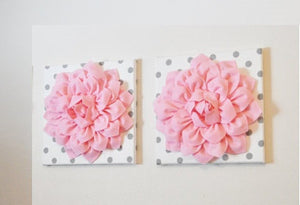 "Two Wall Flowers -Light Pink Dahlia on White with Grey Polka Dots 12 x12"" Canvas Wall Art- Baby Nursery Wall Decor- - Daisy Manor"
