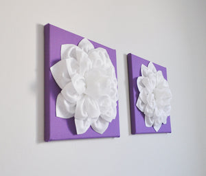 Two Large Flower Wall Hangings - White Dahlias on Lavender 12 x 12 Canvases - Daisy Manor