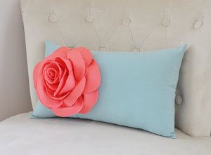 Light Coral Rose on Dusty Blue Lumbar Pillow -Decorative Pillow- - Daisy Manor