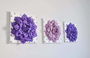 "Wall Art -Set of Three Lavender and Lilac Dahlias White with Gray Polka Dot 12 x12"" Canvas Wall Art - 3D Felt Flower - Daisy Manor"