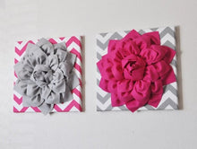 "Load image into Gallery viewer, Wall Flower -Hot Pink Dahlia on Gray and White Chevron 12 x12"" Canvas Wall Art- Baby Nursery Wall Decor- - Daisy Manor"