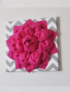 Wall Flower -Hot Pink Dahlia on Gray and White Chevron 12 x12