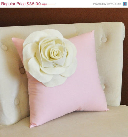 MOTHERS DAY SALE Ivory Corner Rose on Light Pink Pillow 14 X 14 - Decorative Pillow - Throw Pillows
