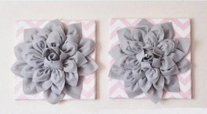 "Two Flower Wall Decor -Gray Dahlias on Light Pink and White Chevron 12 x12"" Canvases Wall Art- Baby Nursery Wall Decor- - Daisy Manor"