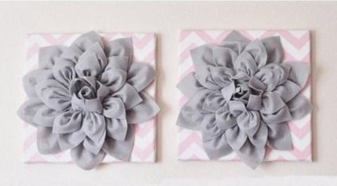 "MOTHERS DAY SALE Two Flower Wall Decor -Gray Dahlias on Light Pink and White Chevron 12 x12"" Canvases Wall Art- Baby Nursery Wall Decor-"