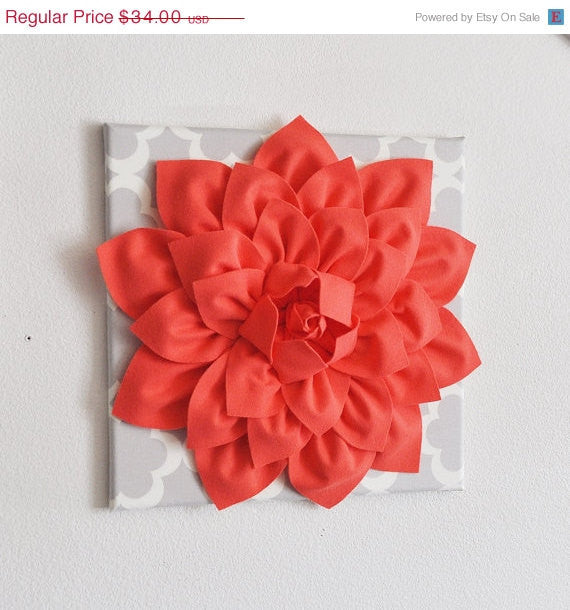 Large Coral Flower on Neutral Gray Tarika Wall Hanging -Flower Wall Decor- - Daisy Manor