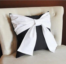 Load image into Gallery viewer, Black and White Big Bow Pillow Decorative Throw Pillow - Daisy Manor