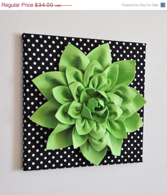 Wall Flower -Chartreuse Green Dahlia on Black and  White Polka Dot 12 x12