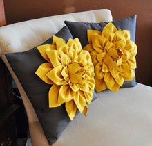 Load image into Gallery viewer, Two Decorative Flower Pillows -Mustard Yellow Dahlias on Charcoal Grey Pillows 14 X 14 - Daisy Manor