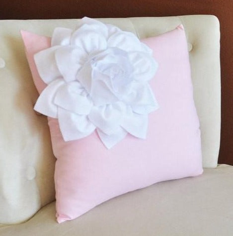 MOTHERS DAY SALE White Corner Dahlia Flower on Light Pink Pillow Accent Pillow Throw Pillow 16 x 16 Toss Pillow