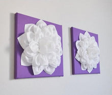 Load image into Gallery viewer, Two Large Flower Wall Hangings - White Dahlias on Lavender 12 x 12 Canvases - Daisy Manor